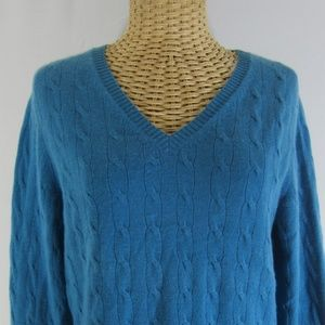 Charter Club M Blue Cable 2 Ply Cashmere Sweater